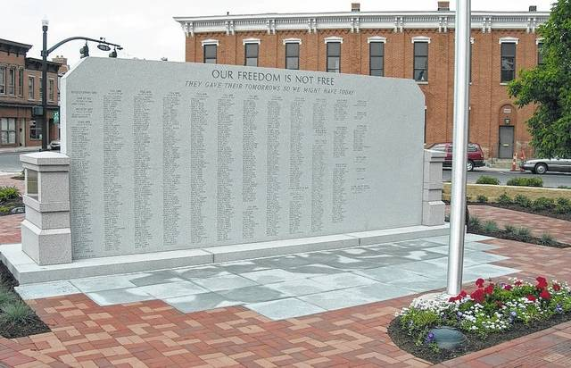 This is the back side of the monument at the Union County Veterans Monument and Plaza in Marysville that lists all the names of veterans who have made the ultimate sacrifice.