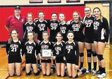 Members of the Jonathan Alder seventh grade volleyball team are front row from left: Laura Detweiler, Lindsey Garman, Claire Dygert, Natalie Wagne and Katrina Riegel; second row: Coach Jim Eudaily, Madison Crabtree, Olivia Crabtree, Danielle Phipps, Hallie Forster, Madison Spencer, Catherine Kolb and Mia Wilson.