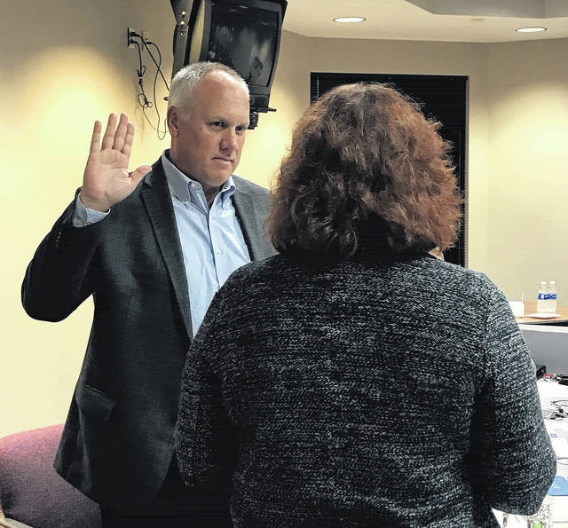 Tom Irelan was sworn in as the newest representative of the Tolles Career & Technical Center Board of Education Thursday night, Oct. 19 during the Board's regular monthly meeting.