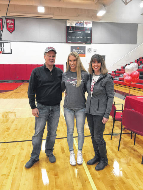 Jonathan Alder senior Ally Graves recently signed to continue her volleyball career at Indiana University of Pennsylvania. From left are: Mark Graves, Ally Graves and Jen Graves.
