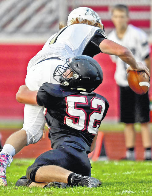 Jonathan Alder's Nolan Larison (52) was a first team Division IV All-Ohio defensive lineman.