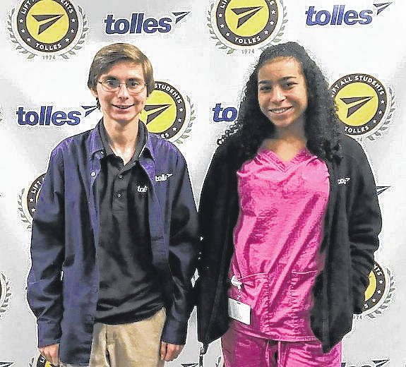 Anthony Salcone, left, and Mahayla Bailey are Tolles Career & Technical Center November students of the month.