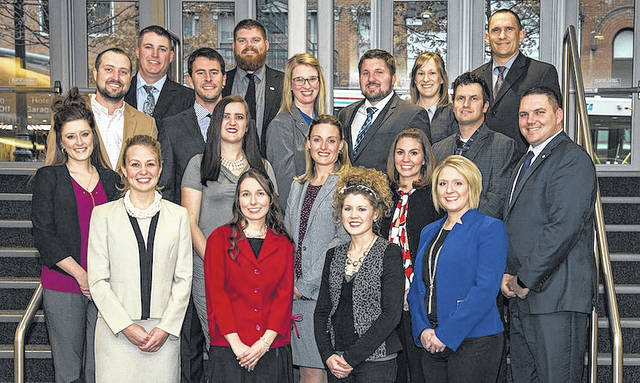 Ohio Farm Bureau's Young Agricultural Professionals are front row from left: Emily Krikke, Shelly Hawthorne, Lauren Schwab and Liza Musselman; second row: Casey Converse, Cassandra Dull, Elizabeth Long, Jessica Dailey and Bennett Musselman; third row: Dustin Converse, Luke Dull, Brandi and Wes Montgomery and Nick Dailey; fourth row: Eric Prysi, Doug Toops, Theresa and Greg Corcoran.