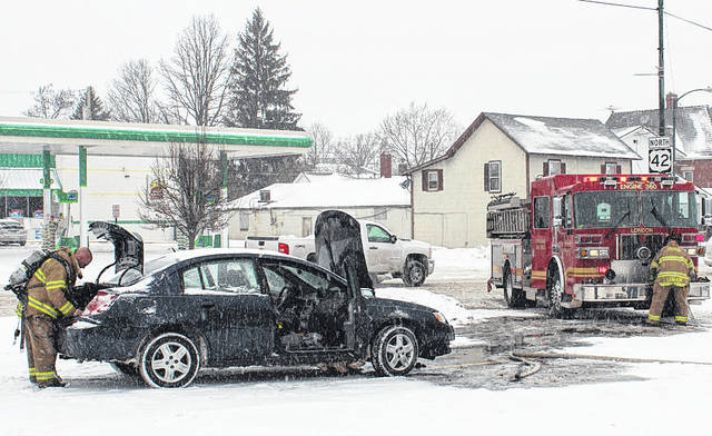 London Fire Department responded to a two-car crash at the intersection of East High Street and North Union Street around 1 p.m. on Monday. Floyd Jordan of Springfield slid his GMC Safari into a Saturn Ion driven by Chelsea Caudill of London.