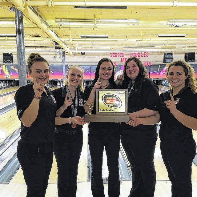 Members of the Jonathan Alder High School girls bowling team pose with their Central Buckeye Conference championship trophy. The members of the team are from left: Emily Walker, Rachel Kaeser, Rena Kirts, Hallie Nichols and Cierra Clark.