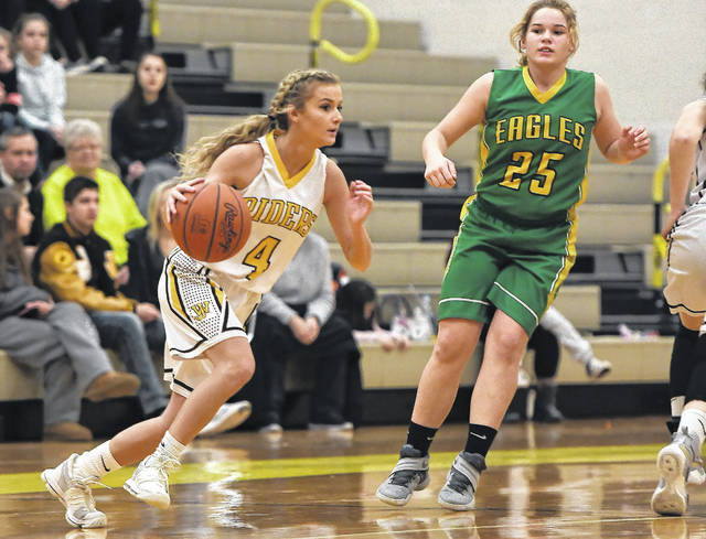 West Jefferson's Hope Lewis races the ball up the floor during the Roughriders win over visiting Madison-Plains Monday.