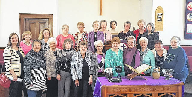The Ladies Tea sponsored by the Friendship Circle of New California Presbyterian Church, 10089 Industrial Parkway, Marysville, will be held at 1 p.m. Saturday, April 7. This year's theme is High Heels and Vintage Broaches. The entertainment will be Inner Vision. Hats and gloves are welcome but optional. Bring bars of soap as donations to the Plain City Food Pantry. Ladies of all ages are welcome. Front row from left are: Brenda Skedell, Doris Schrader, Bev Holbrook, Lucille Ramsey, Mary Henderlong, Joyce McKitrick, Nancy Medland, Mary Jo Alexander, Flo Ramey, and Pat Bougher; second row: Linda Brown, Donna Stevens, Cyndee Wolfe, Sue Hess, Carol Sexton, Sue Bynner, Judy Gregory, Wanda Williamson, Shirley Hedrick, Connie Weakley, and Cheri Gregory.