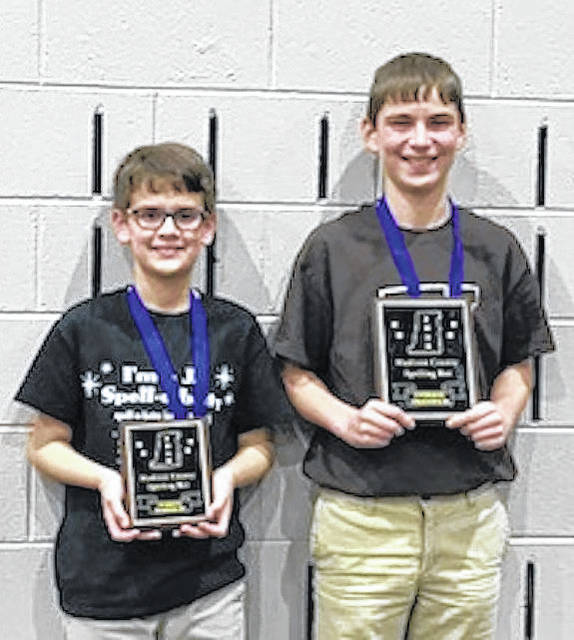 The Madison County Spelling Contest was held Wednesday, Jan. 17 at Tolles Career & Technical Center. The overall champion and runner up winners are from left: Matt Hirshberg, runner up, sixth grade, Canaan Middle School and Aiden Clerico, overall champion, eighth grade, West Jefferson Middle School.