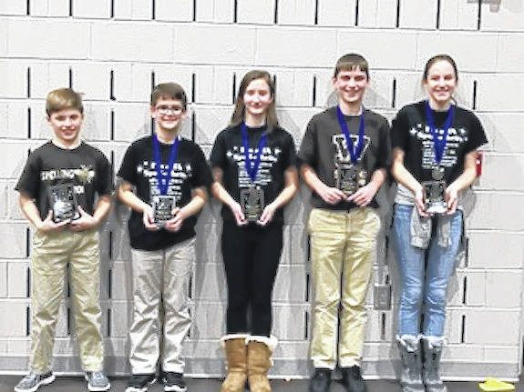 The Madison County Spelling Contest was held Wednesday, Jan. 17 at Tolles Career & Technical Center. The written winners are from left: Wyatt Keyt, fifth grade, Norwood Elementary School; Matt Hirshberg, sixth grade, Canaan Middle School; Kayla Devore, seventh grade, Jonathan Alder Junior High School; Aiden Clerico, eighth grade, West Jefferson Middle School; and Ana Medici, eighth grade, Jonathan Alder Junior High School. Clerico and Medici, tied for eighth grade. Both had perfect papers.