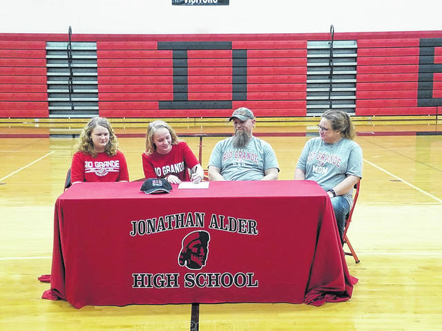 Jonathan Alder senior Serenity Kirts signed a letter of intent to bowl at the University of Rio Grande. She did so this week at the high school along side family. From left are: Lana Kirts (sister); Serenity Kirts; Dan Kirts (father); and Mikki Kirts (mother).