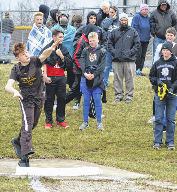 West Jefferson's Jacob Markley placed third in the boys shot put at the Mechanicsburg Middle School Track and Field Invitational Friday, April 6.