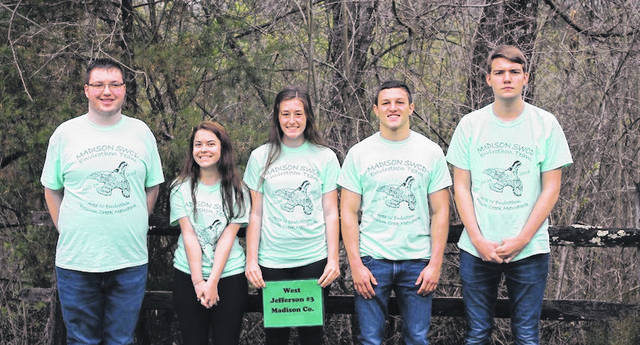 West Jefferson, Madison-Plains and Jonathan Alder High Schools each sent three teams to compete at the Southwest Ohio Envirothon at Possum Creek Metro Park in Montgomery County on Tuesday, April 24. Representing West Jefferson Team No. 3 are from left: Payton Taylor, Bailey Adkins, Karli Graham, Mark Woodard and Caleb Arteaga. They were the top ranked team in Madison County, placing 11th out of 92 teams overall.