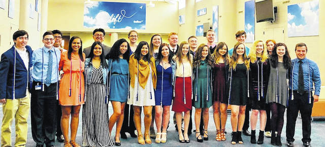 National Technical Honor Society corded members are front row from left: Dan Iwamoto, Steven Beine, Ariana Calloway, Erykza Gonzalez, Mahayla Bailey, Brisa Mata, Caitlin Gookin, Bethany Hurt, Maggie March, Brianna Pollock, Kaitlyn Pollock, Grace McLaughlin, Maggie McKitrick and Ben Hollinger; second row: Khanneth Prak, Kevin De La Rosa, Halle Goodson, Lindsay Everhart, Joseph Johnson, Ian joy, Jackson Kane, Ben Shuler and Megan Rickens.