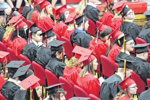 Students await the calling of their name during the 2018 commencement ceremony at Jonathan Alder High School Sunday.
