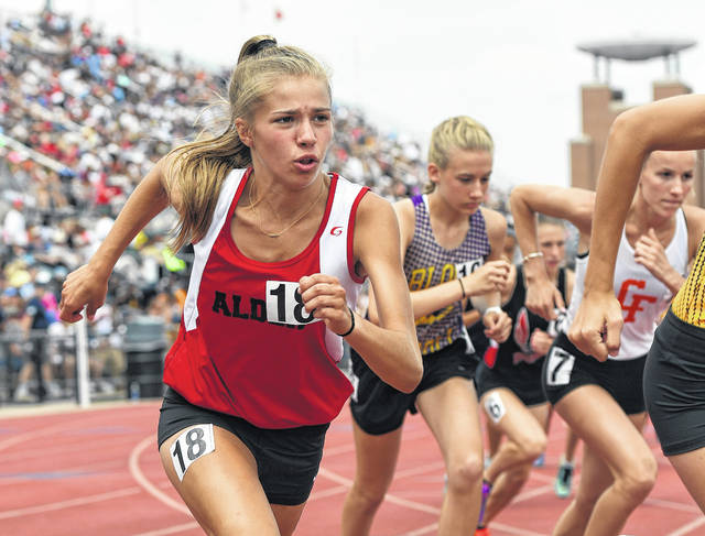 Jonathan Alder's Maddie Davis runs in the 1,600-meter run during the OHSAA state championship meet at Ohio State University Saturday, June 2.
