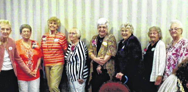 Among those attending the Canaan alumni banquet are from left: Marjorie Martin Wagner, Charlene Hennis Smith, Tressie Hay Corsi, Jean Ann Young Haycock, Dolores Phillips Meeker, Janet Meeker Anderson, Mary Jane Wilson Edwards and Thelma Wilson Kesler.